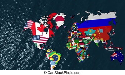 3D Flag World Map Zoom to USA - 3D Flag World Map Zoom to...