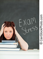 Portrait of an anxious student before her examinations in a...