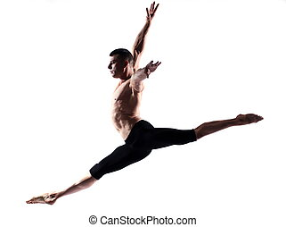 Man dancer gymnastic jump - caucasian man gymnastic jump...