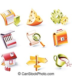 Vector cartoon style icon set P 2 - Set of highly detailed...