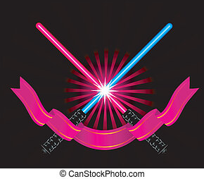 Crossed light sabers with ribbon vector illustration on...
