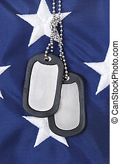 Dog Tags - dog tags and american flag