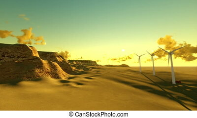 Desert TL sunrise and windmills - Dry desert time lapse...
