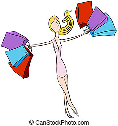 Happy Shopping Girl - An image of a girl holding shopping...