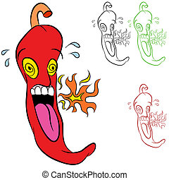 Hot Chili Pepper - An image of a burning hot chili pepper -...