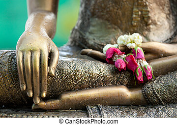 buddha statue detail - golden buddha statue detail with...