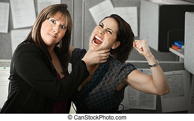 Two Women Quarelling - Furious woman office worker chokes...