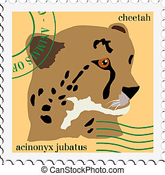 vector stamp with cheetah