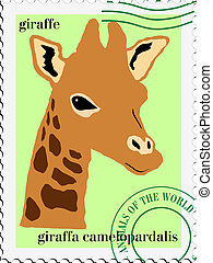 vector stamp with giraffe