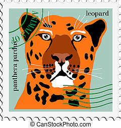 vector stamp with leopard
