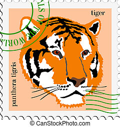 vector stamp with tiger