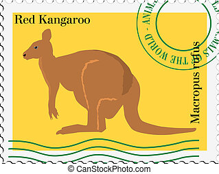 vector stamp with kangaroo