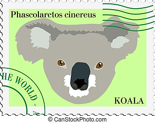 vector stamp with koala