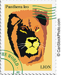 vector stamp with lion