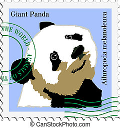 vector stamp with panda