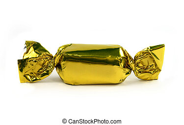 Single gold candy isolated - Single gold candy wrapped...