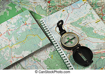 Compass on the detailed maps - Black, military compass on...