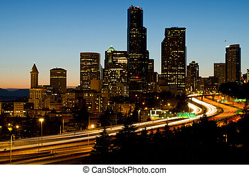 Seattle Downtown Skyline Evening View - Seattle Washington...