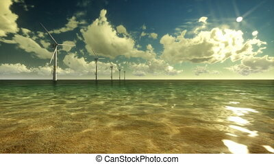 Wind Mills Off Shore and Sky