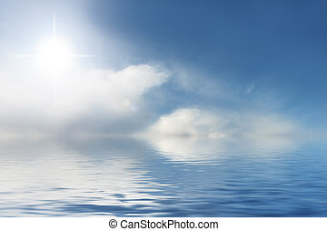 Sunny sky and blue water background - Sunny sky and blue,...