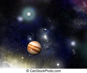 Universe - jupiter and a starfield - Beautiful starfield and...