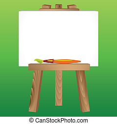 wooden easel, canvas and paintbrush - Wooden Painting tripod...