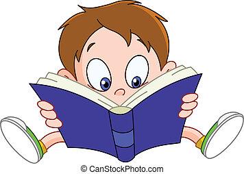 Chłopiec, czytanie, książka