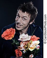 Funny Man Portrait offering flowers cheerful