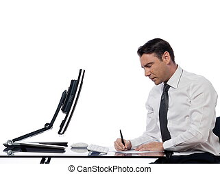 Man relationship with computer intrusion concept -...