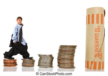 Young Boy in Suit Climbing Stacks of Money - Attractive...