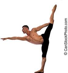 Man portrait gymnastic stretch balance - caucasian man...