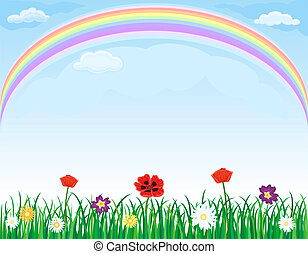 Rainbow over meadow with grass and flowers - Beautiful...