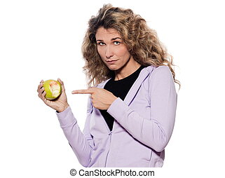 mulher, Retrato, mostrar, sangrento, maçã