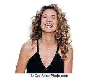 Beautiful expressive curly hair Woman - beautiful caucasian...