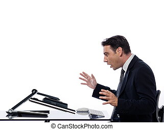 Man relationship with computer breakddown surprise concept -...