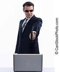 man hacker computing white collar crime