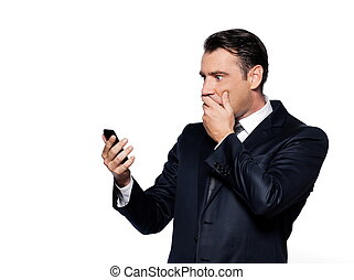 Handsome business man phoning - handsome caucasian man...