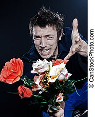 Funny Man Portrait offering flowers