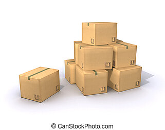 Cardboard Boxes - A pile of moving boxes made out of...