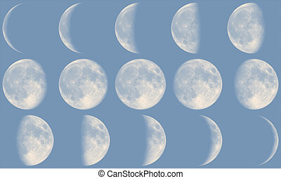Moon Phases - day - The Moon with it's Phases during day...