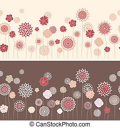 Line seamless with round flowers