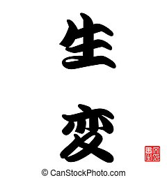 Japan Calligraphy Rebirth in the Christianity term, rebirth...