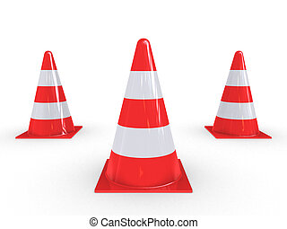 Three Traffic Pylons - Traffic Pylons for regulation on...