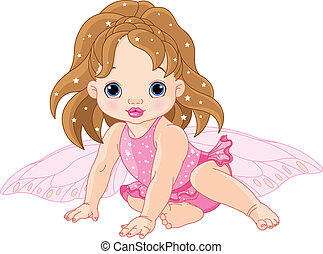 Cute little Fairy - Illustration of sitting cute Baby fairy...
