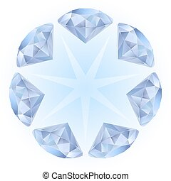 Realistic diamonds pattern. Illustration for design on white...