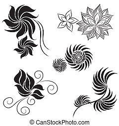 Set of black flower design elements from my big Flower-set...