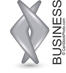 Logo business two grey silver shapes, vector