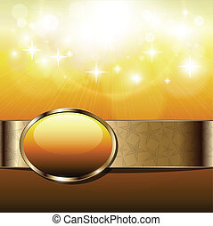 Abstract background sunny with gold banner