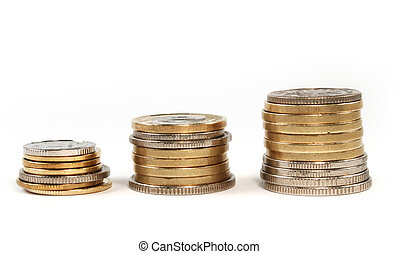 Coin money in stacks isolated - Coin money in stacks, gold...