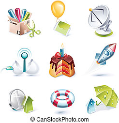 Vector cartoon style icon set P 7 - Set of highly detailed...